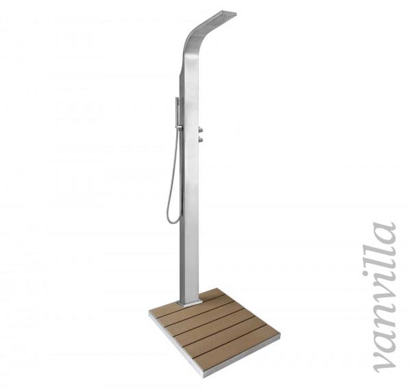 Gartendusche aus Edelstahl Modell Luna für Kaltwasser mit Duschtasse 2.0