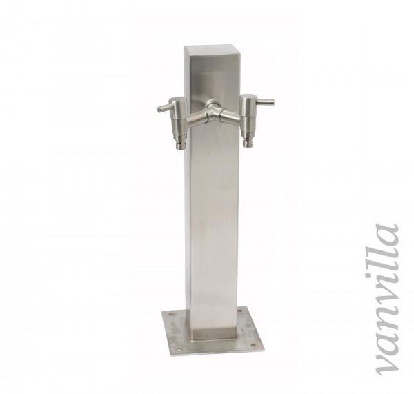 Wasserzapfstelle quadratisch 50cm hoch inkl. 2x Wasserhahn