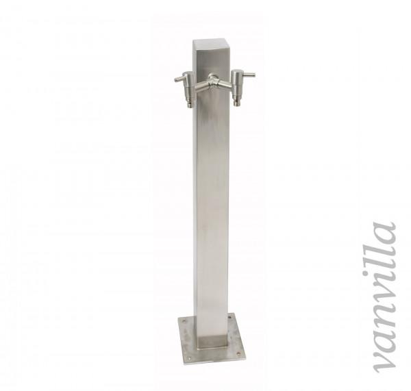 Wasserzapfstelle quadratisch 90cm hoch inkl. 2x Wasserhahn