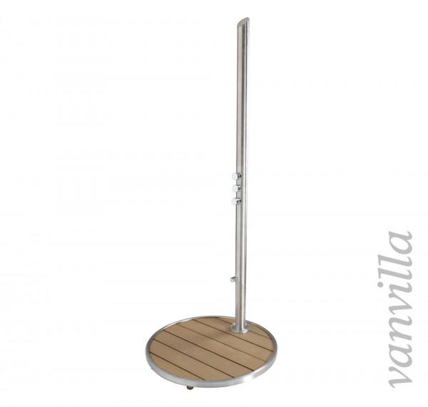 Gartendusche aus Edelstahl Modell Alora für Kalt- und Warmwasser mit Duschtasse